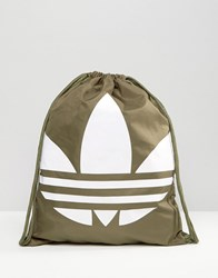 Adidas Originals Drawstring Backpack With Trefoil Logo Olive Cargo Green
