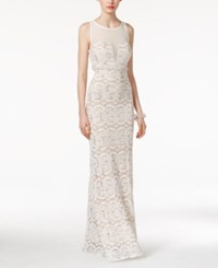 Jump Juniors' Embellished Illusion Lace Gown Ivory Nude