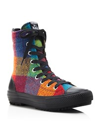 Converse Woolrich Plaid High Top Sneakers Yellow Bird Cyan Space Black