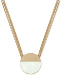 Kenneth Cole New York Gold Tone Shell Inspired Color Block Multi Chain Pendant Necklace