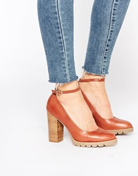 New Look Platform Ankle Strap Heeled Shoes Tan