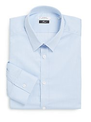 Versace Trend Fit Striped Cotton Dress Shirt Light Blue