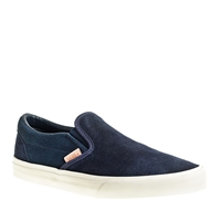 J.Crew Unisex Vans Classic Slip On Sneakers In Textured Suede Navy