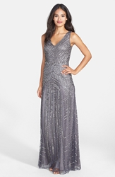 Adrianna Papell Beaded Mesh V Neck A Line Gown Gunmetal
