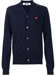 Comme Des Gara Ons Play Embroidered Heart Cardigan Blue