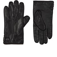 Barneys New York Men's Cashmere Lined Leather Gloves Brown Black Brown Black