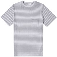 Sunspel Stripe Crew Neck Pocket Tee Grey