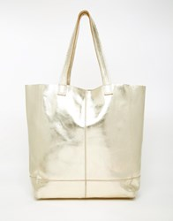 Oasis Real Leather Unlined Shopper Gold