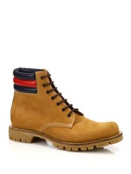 Gucci Marland Leather Lace Up Boots Tan Black