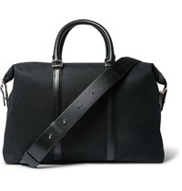 Paul Smith Leather Trimmed Cotton Blend Twill Briefcase Blue