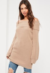 Missguided Nude High Neck Oversized Sweater Camel