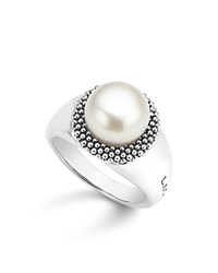 Lagos Sterling Silver Luna Cultured Freshwater Pearl Caviar Bezel Ring White Silver