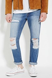 Forever 21 Distressed Skinny Jeans Medium Denim
