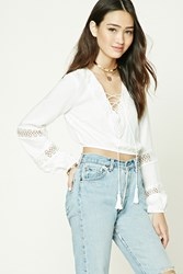Forever 21 Crochet Lace Up Front Top Ivory