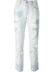 Ermanno Scervino Embroidered Straight Jeans Blue