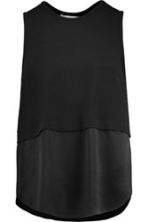 Elizabeth And James Hark Silk Satin And Stretch Jersey Tank Black