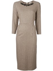 P.A.R.O.S.H. Embellished Houndstooth Dress Nude Neutrals