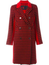 Sonia Rykiel By Double Breasted Checked Coat Red