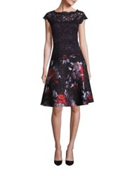Rickie Freeman For Teri Jon Fit And Flare Cotton Blend Lace Top Dress Black Multicolor