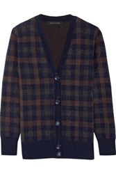 Marc Jacobs Plaid Cashmere Cardigan Navy