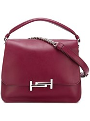 Tod's Logo Plaque Shoulder Bag Pink And Purple