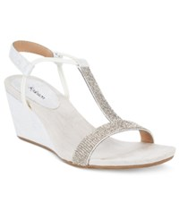 Styleandco. Style And Co. Mulan2 Embellished Evening Wedge Sandals Only At Macy's Women's Shoes White Silver Multi