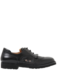 A.Testoni Perforated Leather Oxford Lace Up Shoes Black