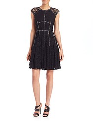 Rebecca Taylor Embellished Lace Fit And Flare Dress Black