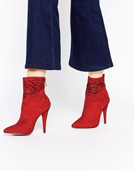 Forever Unique Spritz Heeled Suede Ankle Boots Red