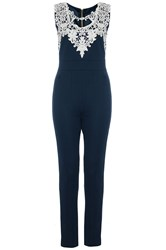 Quiz Navy Textured Crochet Neck Jumpsuit