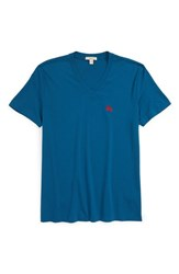 Burberry Men's Brit 'Lindon' V Neck Cotton T Shirt Mineral Blue