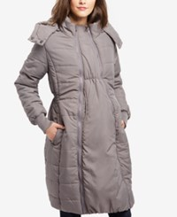 Motherhood Maternity Quilted Puffer Coat Grey