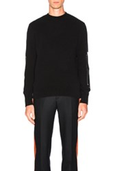 Givenchy Wool And Leather Patches Sweater In Black