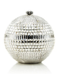 Judith Leiber Couture Rhinestone Encrusted Sphere Evening Clutch Bag Silvertone