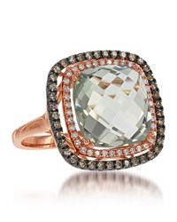 Diana M. Jewels 14K Rose Gold Green Topaz And Yellow And White Diamond Ring Size 6.5