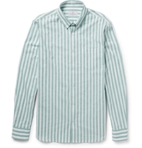 Hentsch Man Button Down Collar Striped Cotton Shirt Green