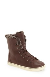Uggr Women's Ugg 'Croft Luxe' Genuine Shearling High Top Sneaker Espresso Leather