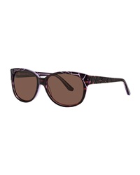 Thierry Mugler Crackle Effect Plastic Sunglasses Tortoise Shell Purple