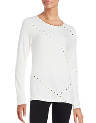 Karl Lagerfeld Studded Knit Top Soft White