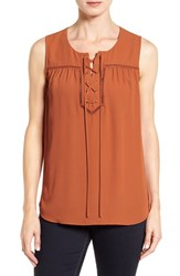 Pleione Women's Lace Up Sleeveless Top Rust
