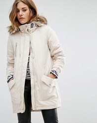 Noisy May Faux Fur Parka Oatmeal Cream