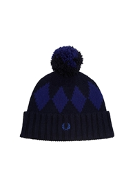 Fred Perry Diamond Bobble Hat Navy