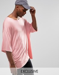 Reclaimed Vintage Oversized Drapey T Shirt Pink