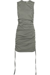Barbara Casasola Ruched Cotton Gabardine Mini Dress Green