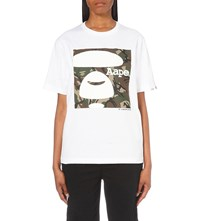 Aape By A Bathing Ape Camo Logo Print Cotton Jersey T Shirt White