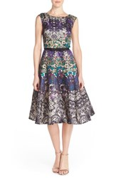 Women's Gabby Skye Floral Shantung Fit And Flare Dress