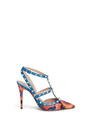 Valentino 'Rockstud' Enchanted Wonderland Print Caged Leather Pumps Multi Colour