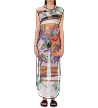 Clover Canyon Graphic Floral Mesh Cover Up Dress Multi
