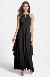 Eliza J Women's Embellished Tiered Chiffon Halter Gown Black