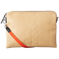 Orla Kiely Embossed Leather Travel Pouch Sand